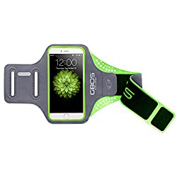 Apple iPhone 7 Armband, Green GBOS Sweat-Free, Gym, Running, Jogging, Walking, Hiking, Workout and Exercise Sport Armband For iPhone 7 with Extra Adjustable-Length Extention Band & Key Slot
