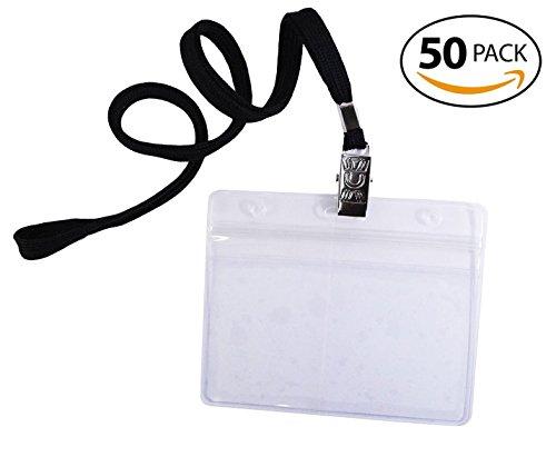 Fiy per uccelli, confezione da 50, impermeabile, di alta qualità, in plastica trasparente, motivo: logo orizzontale, carta d'identità e laccetto, confezione da 50 pezzi, colore: nero