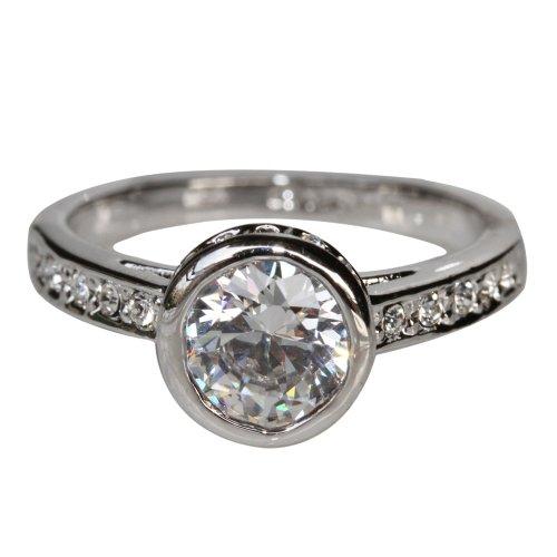Fashion Plaza 18k White Gold Plated Use Swarovski Crystal Wedding Ring R298 Size 8