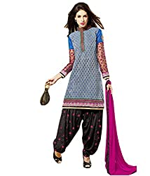 FadAttire Chanderi Patiala dress Material-Blue-ACPA02