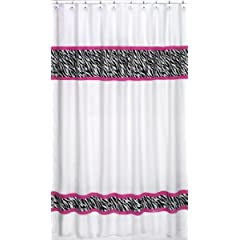 Funky Zebra Kids Bathroom Fabric Bath Shower Curtain by Sweet Jojo Designs