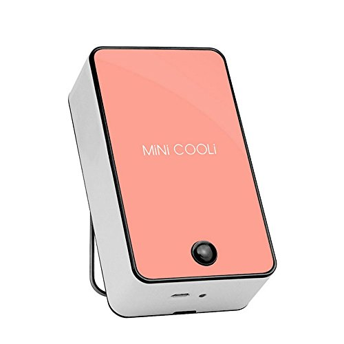 kokome Portable Rechargeable Mini Handheld Air Conditioner Chargeable Cooling Fan USB Rechargeable Air Conditioning Fan Appliances (Pink)