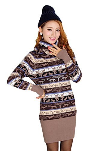 Pink Queen Womens High Collar Nordic Pattern Ugly Christmas Sweater Dress Khaki
