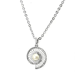 Glamorousky Twinkling Shell Pendant with Silver Swarovski Element Crystals and White Fashion Pearl and Necklace (2965)