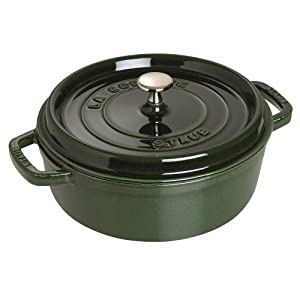 Staub Basil Enameled Cast Iron Wide Round Oven with Lid, 6 Quart