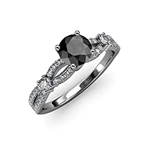Black and White Diamond Split Shank Engagement Ring 1.45 ct tw in 14K White Gold.size 8