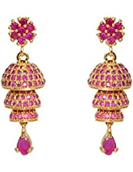 Abhijewels Gold Plated White American Diamond Stones Studded Ethnic Traditional Jhumka/Jhumki Earrings For Women