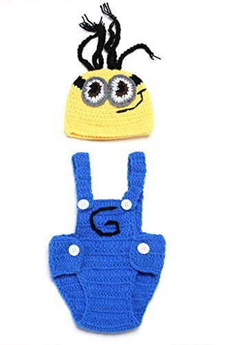 Bigood(TM) Newborn Girl Boy Crochet Clothes Baby Photograph Props Minion Overalls