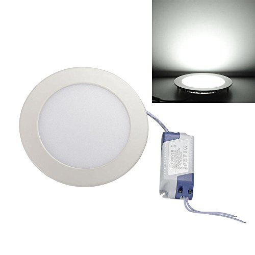 Ljy Led Recessed Ceiling Flat Panel Down Light Lamp (White, 9W Round)