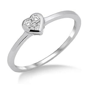 Miore Damen-Ring 925 Sterling Silber Herz mit Brillanten 0.11ct Gr. 52 MSL004RM