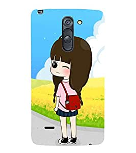 Vizagbeats Winking Girl Back Case Cover for LG G3 Stylus::LG G3 Stylus D690N::LG G3 Stylus D690