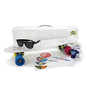 Stereo Vinyl Cruiser Plastic Complete Skateboard, Clear with Gumball Wheels