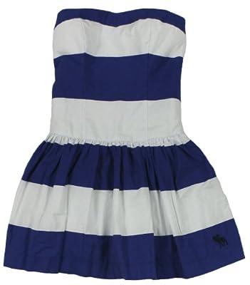 Abercrombie & Fitch Women's Joanna Striped Strapless Dress (Blue Stripe) Size M