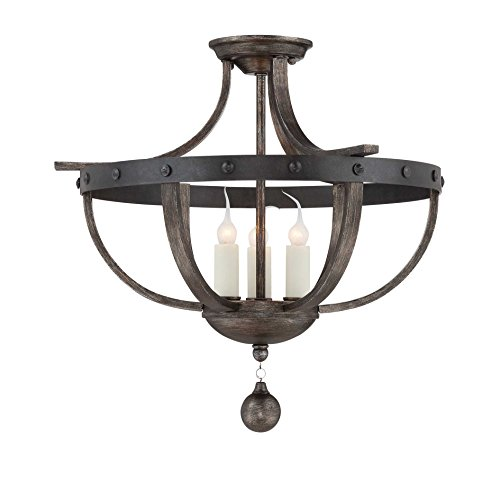 Savoy House 6-9540-3-196, Alsace 3-Light Semi-Flush, Reclaimed Wood (Savoy House Alsace compare prices)