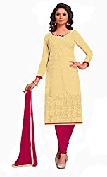 Jiya Presents Embroidered GPU,Georgette Dress Material (Light Yellow,Pink)