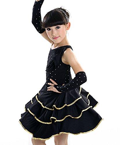 Girls Latin Costume Performance Dress With Gloves BLACK (120CM Height)
