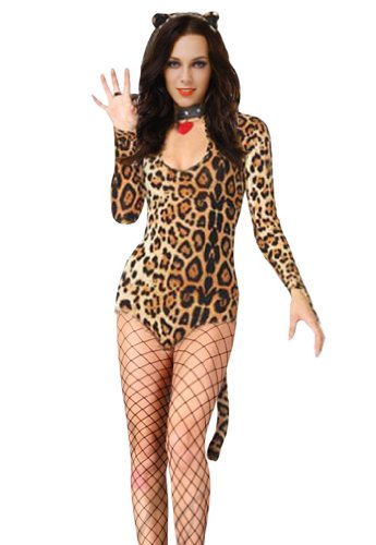 Amour - Sexy Leopard Print Kitty Costume Romper Overall Teddy Clubwear Stripper
