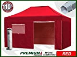Eurmax Premium 4.5 x 3mtr Pop Up Gazebo Marquee, Heavy Duty Folding Tent , with Four Side Panels And Wheeled Carry Bag (Red)