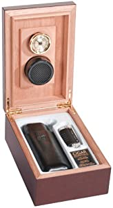 Colibri Mahogany Cider Humidor, Crossfire Cigar Quantum Lighter and Leather Cigar Pouch HUD040000G Gift Set