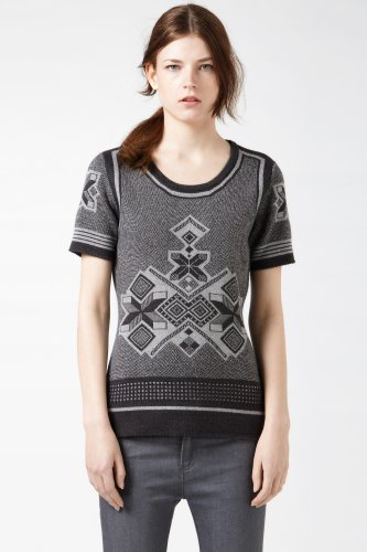 Short Sleeve Graphic Fair Isle Sweater
