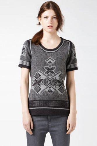 Short Sleeve Graphic Fair Isle Sweater