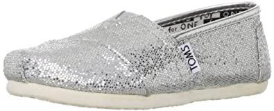 Toms Youth Classic Glitter Shoes Silver, Size 12 M US Little Kid, EU 30