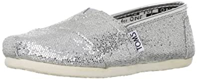 Toms Youth Classic Glitter Shoes Silver, Size 4.5 M US Big Kid, EU 36