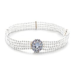 Women 4 Rows Chain Pearl Waist Belt Jewelry Oval Crystal Buckle Stretchy Waistband