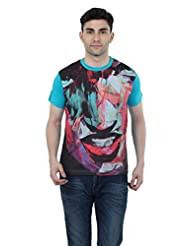 Aliep Blue Cotton Printed Regular Fit T-shirt For Men