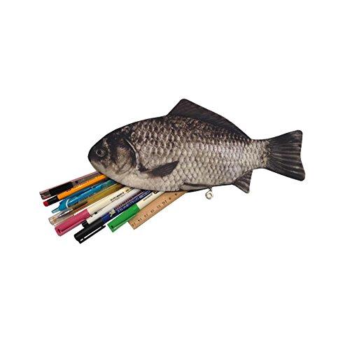Carp fish zipper pouch weird pen pencil case office for Realistic fish pencil case