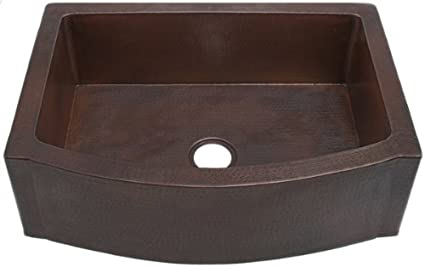 FHA33W1RFE inch Hammermarc Copper Kitchen Rounded Front Apron Front w/Flat Ends-Single