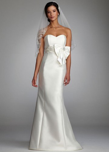 David's Bridal Strapless Mermaid Gown with Oversized Bow
