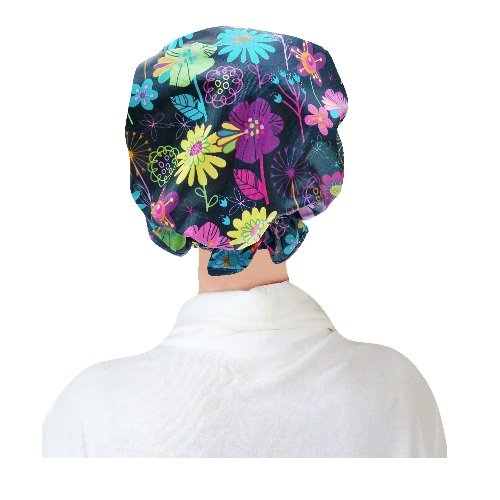 Two Lumps of Sugar Bright Flowers Ruffle Shower Cap