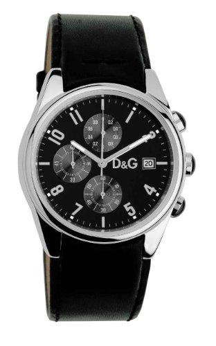 Dolce  &  Gabbana 3719770097 Gents Watch Quartz Analogue Chronograph Black Leather Strap