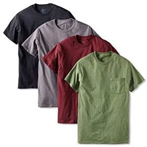 Fruit of the Loom Men's 4 Pack Pocket T-Shirt, Assorted, X-Large