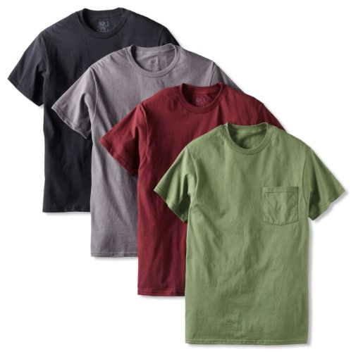 4pk Assorted colors Pocket T-Shirt - L or 4pk Black/Grey/Maroon/Green, Pocket T-Shirt - L