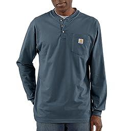 Carhartt Men\'s Workwear Pocket Long Sleeve Henley Original Fit Bluestone Large