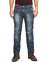 FN Jeans Stylish Navy Blue Slim Fit Low Rise Stone Wash Denim For Men | FNJ9161