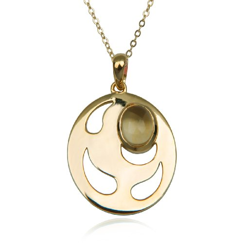 18k Yellow Gold Plated Sterling Silver Citrine 8x6mm Round Cut-Out Pendant Necklace , 18