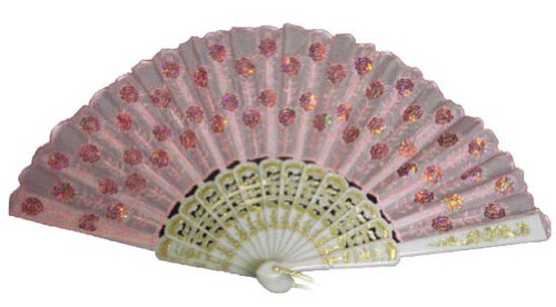 Folding Fan With Sequins (Pink With Pink Sequins)