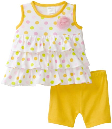 Cutie Pie Baby-girls Infant 2 Piece Ruffle Shirt and Dot Short Set, Yellow, 18-24 Months