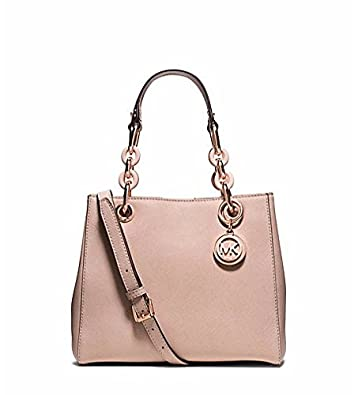 Michael Kors Cynthia Small Leather Satchel in BLUSH: Handbags: Amazon