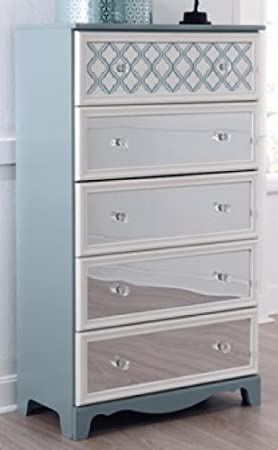 Mivara Light Blue/White Five Drawer Chest