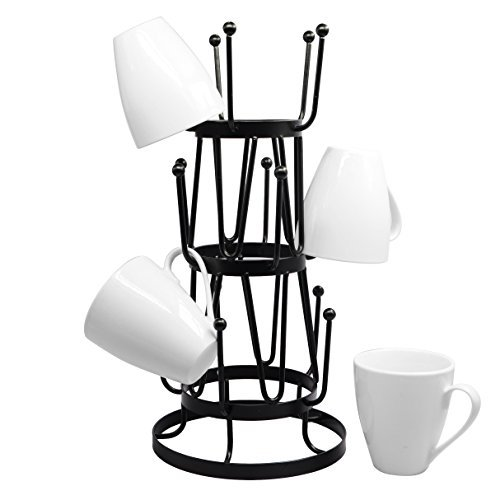 Stylish Steel Mug Tree Holder Organizer Rack Stand (Black) (Hot Plate Rack compare prices)