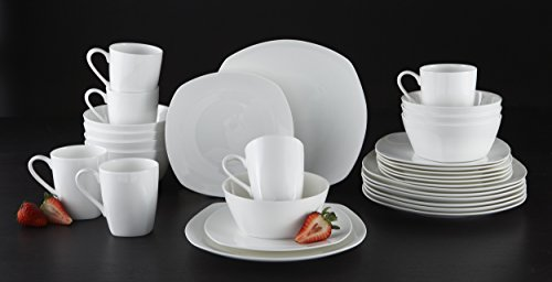 Roscher 32-Pc. Kelsey Soft Square Bone China Dinnerware Set