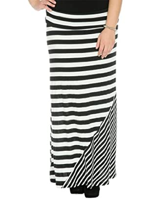 Wet Seal Women's Mixed Stripe Maxi Skirt 3X Black/white