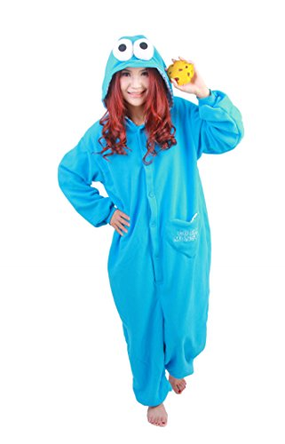 NOL Adult Unisex Onesie Pyjamas Cookie Monster Cosplay Costumes