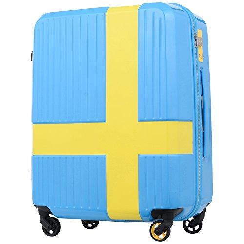キャリーケース イノベーター 当店オリジナル スーツケース TSAロック 軽量 innovator ファスナータイプ 4輪 50L 3日 5日用 52cm Lサイズ 鏡面加工 ind950p (ブルー×イエロー)