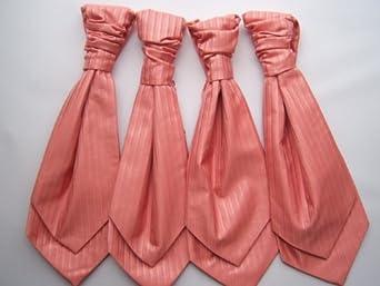 Four (X4) mens new wedding scrunch tie ties cravat cravats coral set of 4 (J)