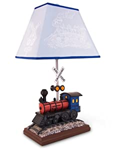 Train Table Lamp with Matching Night Light - Fantastic Hand Painted Details by Bright Light Partners
